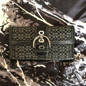 COACH Tri-Fold Leather/Cloth Wallet, Classic Print
